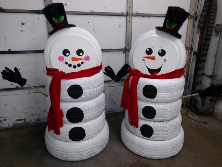 Снеговики из шин